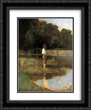 Angler 20x24 Black or Gold Ornate Framed and Double Matted Art Print by Laszlo Mednyanszky