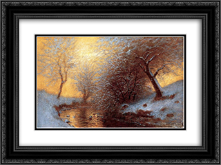 Brookside in Winter 24x18 Black or Gold Ornate Framed and Double Matted Art Print by Laszlo Mednyanszky