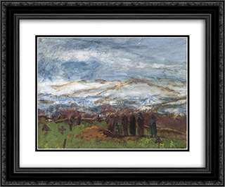Burial in the Carpathian Mountains 24x20 Black or Gold Ornate Framed and Double Matted Art Print by Laszlo Mednyanszky