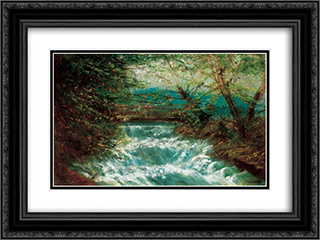 Burring Brook 24x18 Black or Gold Ornate Framed and Double Matted Art Print by Laszlo Mednyanszky