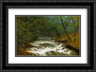 Burring Brook with Bridge 24x18 Black or Gold Ornate Framed and Double Matted Art Print by Laszlo Mednyanszky