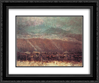 Camp 24x20 Black or Gold Ornate Framed and Double Matted Art Print by Laszlo Mednyanszky