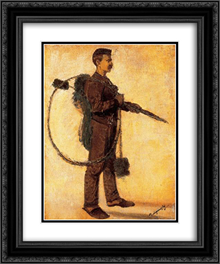 Chimney-sweeper (Carrier of Luck) 20x24 Black or Gold Ornate Framed and Double Matted Art Print by Laszlo Mednyanszky