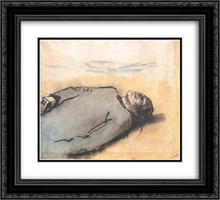 Fallen Russian Soldier 22x20 Black or Gold Ornate Framed and Double Matted Art Print by Laszlo Mednyanszky