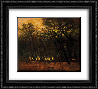 Fires in the Forest 22x20 Black or Gold Ornate Framed and Double Matted Art Print by Laszlo Mednyanszky