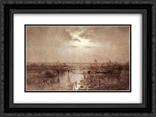 Fishing on the Tisza 24x18 Black or Gold Ornate Framed and Double Matted Art Print by Laszlo Mednyanszky