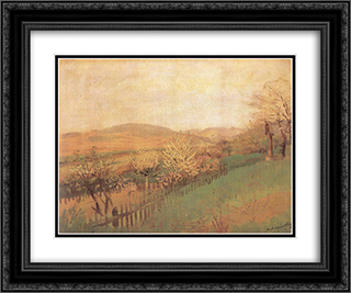 Fruit Trees 24x20 Black or Gold Ornate Framed and Double Matted Art Print by Laszlo Mednyanszky