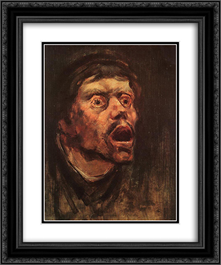 Head of a Tramp 20x24 Black or Gold Ornate Framed and Double Matted Art Print by Laszlo Mednyanszky