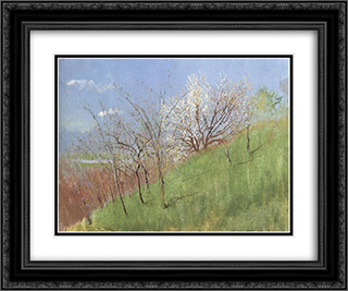Hildside at Springtime (Little Landscape) 24x20 Black or Gold Ornate Framed and Double Matted Art Print by Laszlo Mednyanszky