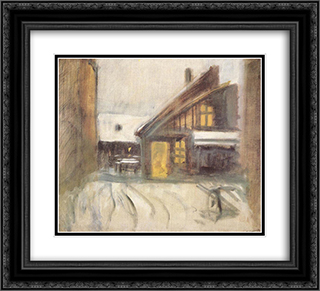House at Dusk 22x20 Black or Gold Ornate Framed and Double Matted Art Print by Laszlo Mednyanszky