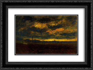 In the Outskirt of the City 24x18 Black or Gold Ornate Framed and Double Matted Art Print by Laszlo Mednyanszky