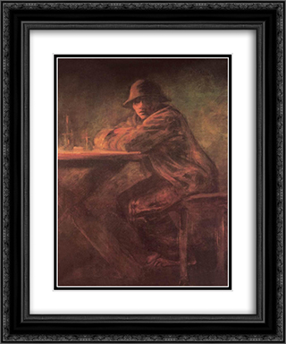 In the Tavern 20x24 Black or Gold Ornate Framed and Double Matted Art Print by Laszlo Mednyanszky