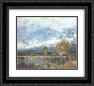 Lake in the Mountains 22x20 Black or Gold Ornate Framed and Double Matted Art Print by Laszlo Mednyanszky