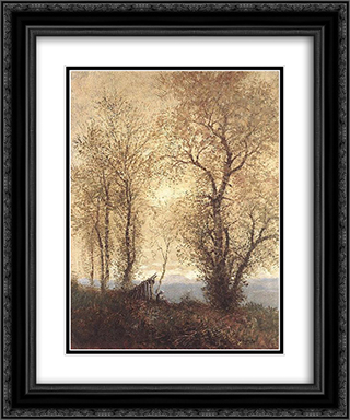 Landscape at Autumn 20x24 Black or Gold Ornate Framed and Double Matted Art Print by Laszlo Mednyanszky