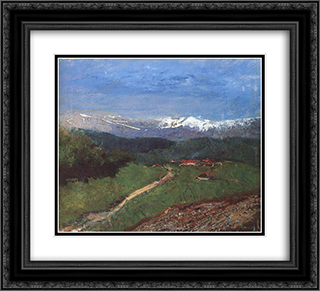 Landscape in the Alps (View from the Rax) 22x20 Black or Gold Ornate Framed and Double Matted Art Print by Laszlo Mednyanszky