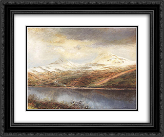 Mountain Landscape with Lake 24x20 Black or Gold Ornate Framed and Double Matted Art Print by Laszlo Mednyanszky