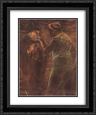 Mugging 20x24 Black or Gold Ornate Framed and Double Matted Art Print by Laszlo Mednyanszky