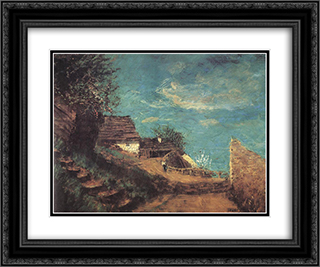Part of Taban 24x20 Black or Gold Ornate Framed and Double Matted Art Print by Laszlo Mednyanszky