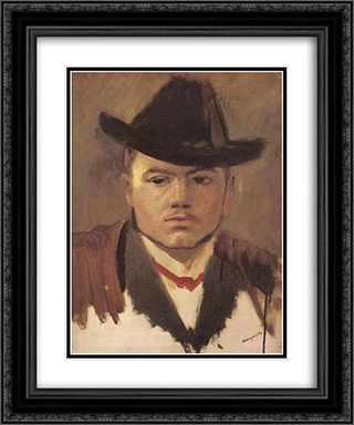 Peasant Boy with Hat (study) 20x24 Black or Gold Ornate Framed and Double Matted Art Print by Laszlo Mednyanszky