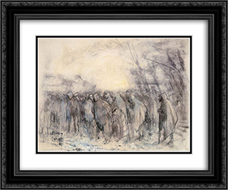 Prisoners Marching Off 24x20 Black or Gold Ornate Framed and Double Matted Art Print by Laszlo Mednyanszky