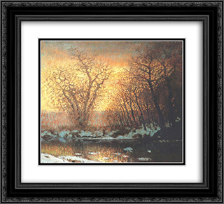 Snow-melting 22x20 Black or Gold Ornate Framed and Double Matted Art Print by Laszlo Mednyanszky
