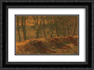Soldiers 24x18 Black or Gold Ornate Framed and Double Matted Art Print by Laszlo Mednyanszky