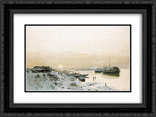 Sunrise in the Snowy Riverside 24x18 Black or Gold Ornate Framed and Double Matted Art Print by Laszlo Mednyanszky
