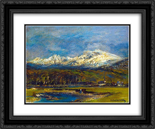 Tarn in the Tatra 24x20 Black or Gold Ornate Framed and Double Matted Art Print by Laszlo Mednyanszky