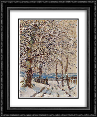 Trees with Hoar-frost 20x24 Black or Gold Ornate Framed and Double Matted Art Print by Laszlo Mednyanszky