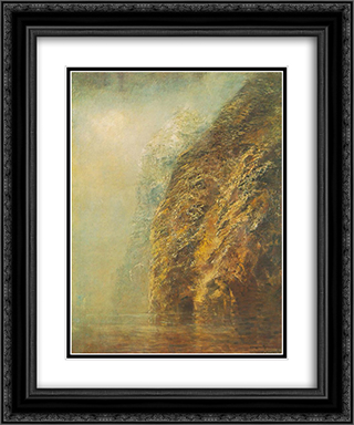 View of Dunajec 20x24 Black or Gold Ornate Framed and Double Matted Art Print by Laszlo Mednyanszky