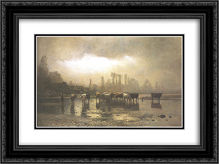 Watering 24x18 Black or Gold Ornate Framed and Double Matted Art Print by Laszlo Mednyanszky