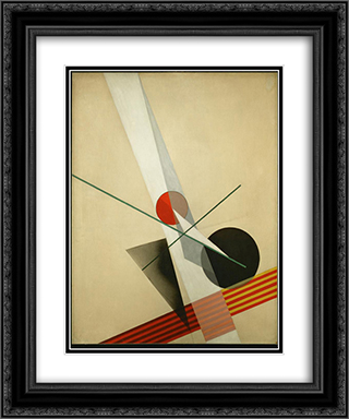 Composition A XXI 20x24 Black or Gold Ornate Framed and Double Matted Art Print by Laszlo Moholy Nagy