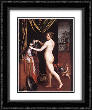 Minerva Dressing 20x24 Black or Gold Ornate Framed and Double Matted Art Print by Lavinia Fontana