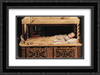 Newborn Baby in a Crib 24x18 Black or Gold Ornate Framed and Double Matted Art Print by Lavinia Fontana
