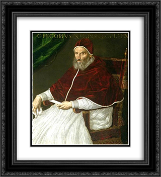 Pope Gregory XIII 20x22 Black or Gold Ornate Framed and Double Matted Art Print by Lavinia Fontana