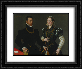 Portrait of a Couple 24x20 Black or Gold Ornate Framed and Double Matted Art Print by Lavinia Fontana
