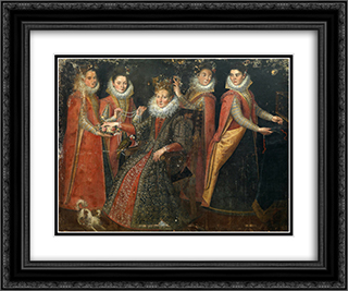 Portrait of Five Women with a Dog and a Parrot 24x20 Black or Gold Ornate Framed and Double Matted Art Print by Lavinia Fontana