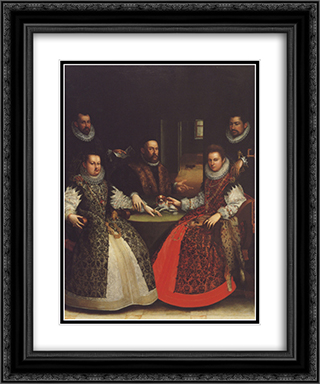 Portrait of the Coozzadini Family 20x24 Black or Gold Ornate Framed and Double Matted Art Print by Lavinia Fontana