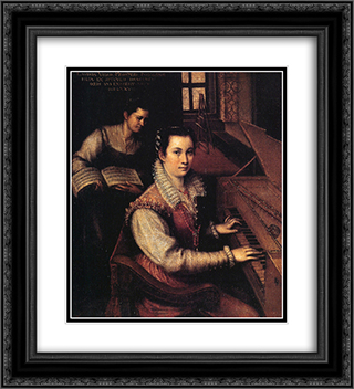 Self-Portrait at the Clavichord with a Servant 20x22 Black or Gold Ornate Framed and Double Matted Art Print by Lavinia Fontana