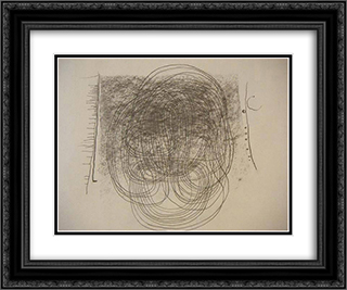 Circles and Lines 24x20 Black or Gold Ornate Framed and Double Matted Art Print by Leon Arthur Tutundjian