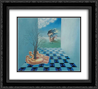 Compoisition surrealiste ou La main 22x20 Black or Gold Ornate Framed and Double Matted Art Print by Leon Arthur Tutundjian