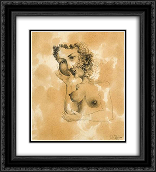 Femme aux deux visages 20x22 Black or Gold Ornate Framed and Double Matted Art Print by Leon Arthur Tutundjian