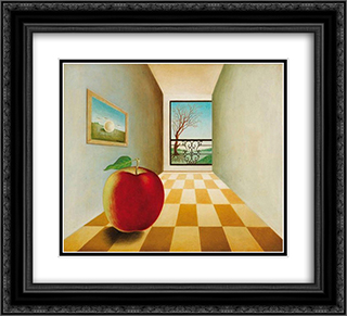 Pomme devant une fenetre ouverte 22x20 Black or Gold Ornate Framed and Double Matted Art Print by Leon Arthur Tutundjian