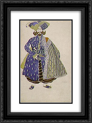 Aide de camp of the Shah, costume design for Diaghilev's production of the ballet Scheherazade 18x24 Black or Gold Ornate Framed and Double Matted Art Print by Leon Bakst