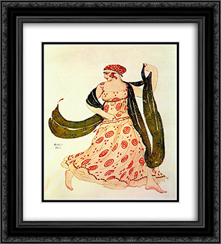 Cleopatre greek dancer 20x22 Black or Gold Ornate Framed and Double Matted Art Print by Leon Bakst