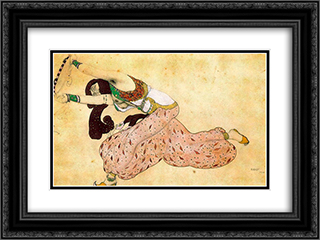 Costume Design for 'Scheherazade' 24x18 Black or Gold Ornate Framed and Double Matted Art Print by Leon Bakst