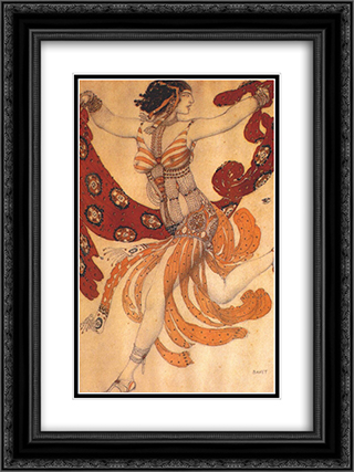 Costume design for the ballet Cleopatra 18x24 Black or Gold Ornate Framed and Double Matted Art Print by Leon Bakst
