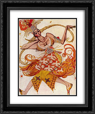 Costume design for The Firebird 20x24 Black or Gold Ornate Framed and Double Matted Art Print by Leon Bakst