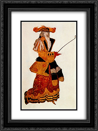 Costume design for the Marchioness Hunting, from Sleeping Beauty 18x24 Black or Gold Ornate Framed and Double Matted Art Print by Leon Bakst