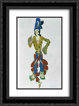 Costume for Nijinsky 18x24 Black or Gold Ornate Framed and Double Matted Art Print by Leon Bakst